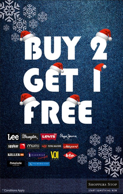 Shoppers stop buy 2 get 1 free christmas deal deals for Christmas decs sale