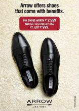 The Arrow Shoes with benefits deal. Buy Shoes worth Rs.2999 at Arrow and get a strolley bag at Just Rs.999.