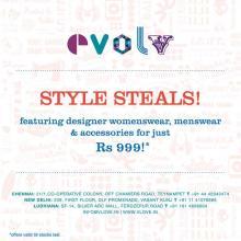 Evolv Style Steals, featuring designer womenswear, Designer menswear, accessories for just Rs.999