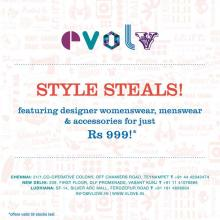 Evolv Style Steals, featuring designer womenswear, Designer menswear, accessories for just Rs.999