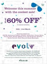 Summer Sale, Evolv Sale, Evolv Sale at Silver Arc Mall, Evolv sale in Ludhiana, Evolv Sale in Punjab, Flat 60% off, 29 to 31 March 2013, Featuring designs by AM:PM, Abraham & Thakore, Anaikka, Ashish Soni, Divyam Mehta, Gaurav Gupta, Kianna, Manish Arora, Nor So Serious, Sanchita, Shivan Narresh, Small Shop and Sonali Mansingka.