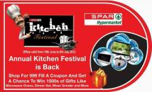 SPAR Kitchen Festival is back with great deals and great savings. shop for Rs 999/- and get a chance to win 1000s of gifts like Microwave Ovens, Dinner Set, Mixer Grinder and More. Hurry last few days left!. From 16th June to 8th July 2012
