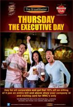 Thursday The Executive Day - Get flat 15% off on sitting of 4 pax on the entire bill at The BrewMaster, Westend Mall, Ludhiana