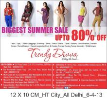 Sale - Biggest Summer Sale, Trendy Divva, stores in New Delhi, Gurgaon, Chandigarh & Amritsar. Tanks, Tops, T-Shirts, Leggings, Stockings, Shirts, Tunics, Shorts, Capris, Kaftans, Casual Dresses, Trousers, Purses, Formal Dresses, Casual Jumpsuits, Party & Evening Dresses, Evening Formal Jumpsuits, Bridal Gowns.